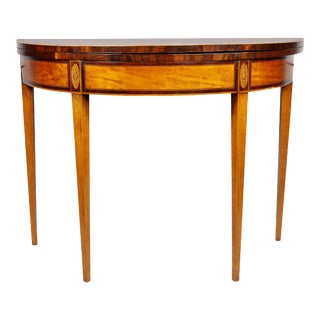 George III Satinwood Demilune Games Table For Sale