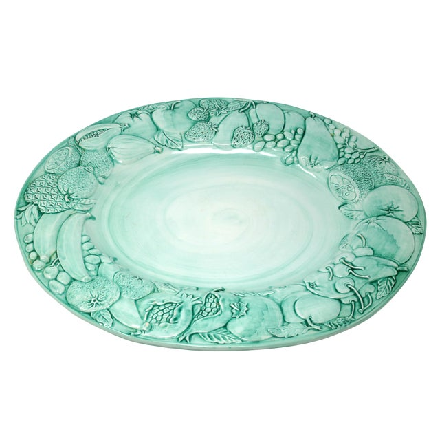 """Vintage Italian Majolica Ceramic Large 20"""" Hand-Painted Green Fruit Platter Italy For Sale"""