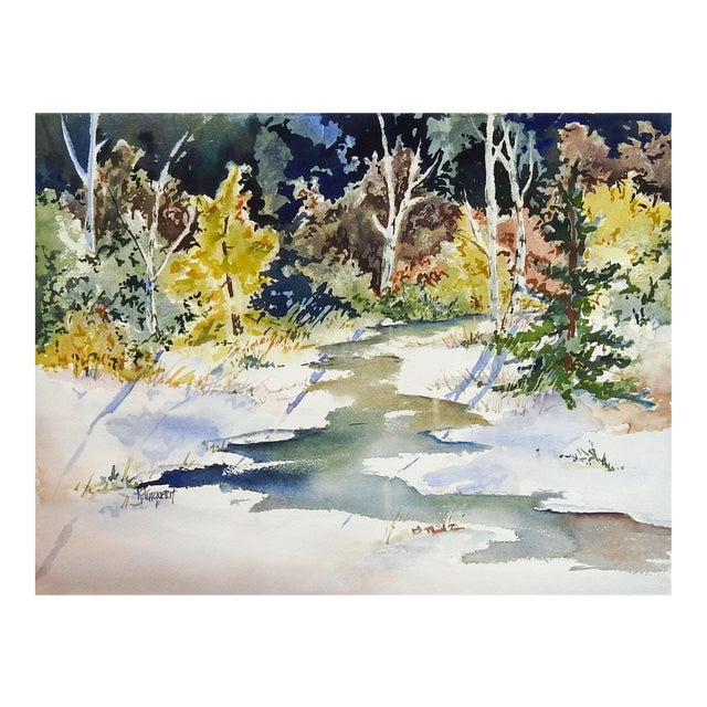 Sunlit Forest Stream Watercolor Painting For Sale