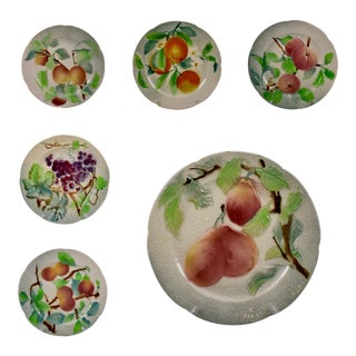 C. 1900 St. Clement French Faïence Fruit Plates, S/6 (C) For Sale