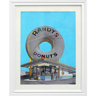 ''Giant Donut in Inglewood #24'' Contemporary Mixed-Media Painting by Fabio Coruzzi, Framed For Sale