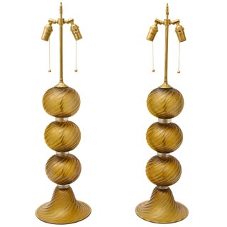 Signed Bronze Gold Color Murano Glass Table Lamps by Alberto Dona - a Pair For Sale