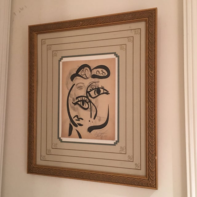 Terrific and Early 1960s Abstract Painting / Drawing by well Listed Artist Peter Robert Keil. This piece depicts a pencil...