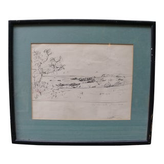 Early 20th Century Antique Framed Landscape Pencil Drawing For Sale