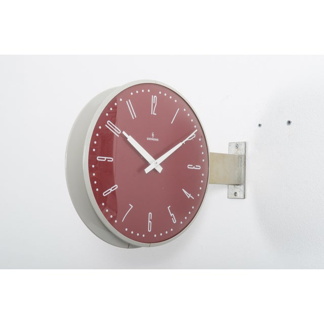 Metal Siemens Halske Double Faced Train Station, Wokshop, Factory Clock For Sale - Image 7 of 10