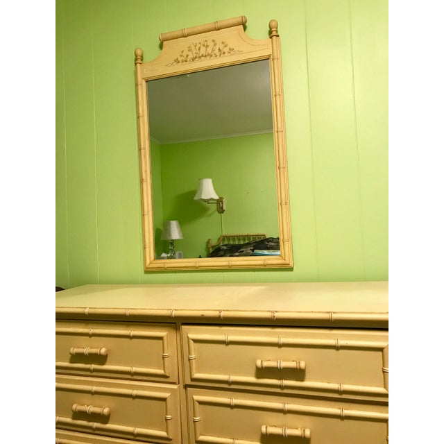 Vintage Yellow Bamboo-Style Mirror - Image 3 of 3