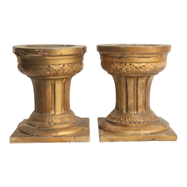 19th-Century French Altar Giltwood & Gesso Candle Stands - A Pair For Sale
