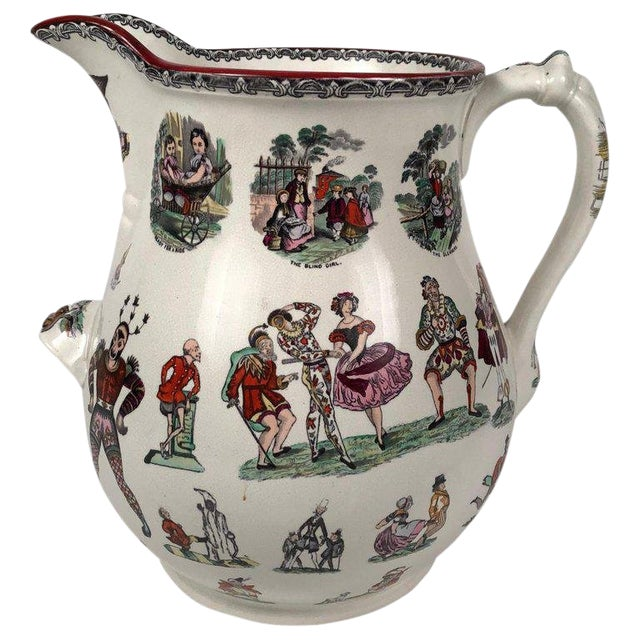 Giant 19th Century Staffordshire Pottery Harlequin Pitcher For Sale