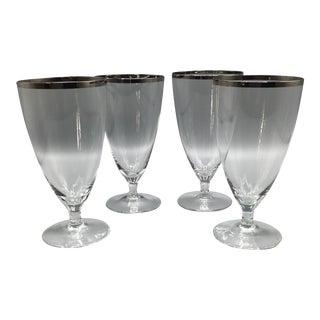 West Germany 1940s Platinum Rim Stemmed Water Glasses - Set of 4 For Sale