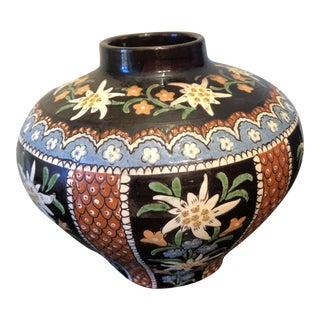 1910 Thuner Swiss Majolika Art Pottery Vase For Sale