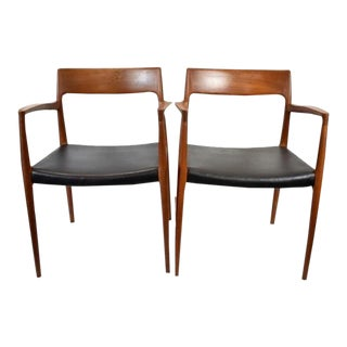 Jl Moller Danish Mid Century Arm Chairs - a Pair For Sale