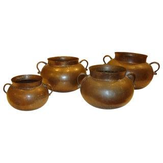 Vintage Bronze Artisan Pots-Set of 4 For Sale