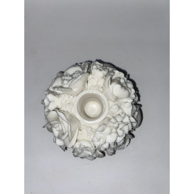White Vintage Capodimonte Style Milk Glass Rose Floral in Basket Candle Holder For Sale - Image 8 of 8