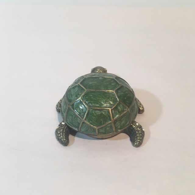 Brass & Green Turtle Votive Candle Holder - Image 8 of 9