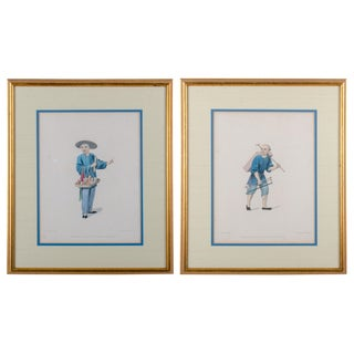Early 19th Century Antique J. Dadley The Costume of China Stipple Engraving Prints - A Pair For Sale