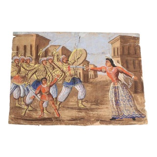 Antique Italian Indo-Persian Scene Hand-Painted Mural / Theater Backdrop Painting For Sale