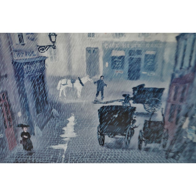 Lithograph Vintage Framed Paris Street Scene Lithograph by Michel Delacroix For Sale - Image 7 of 13