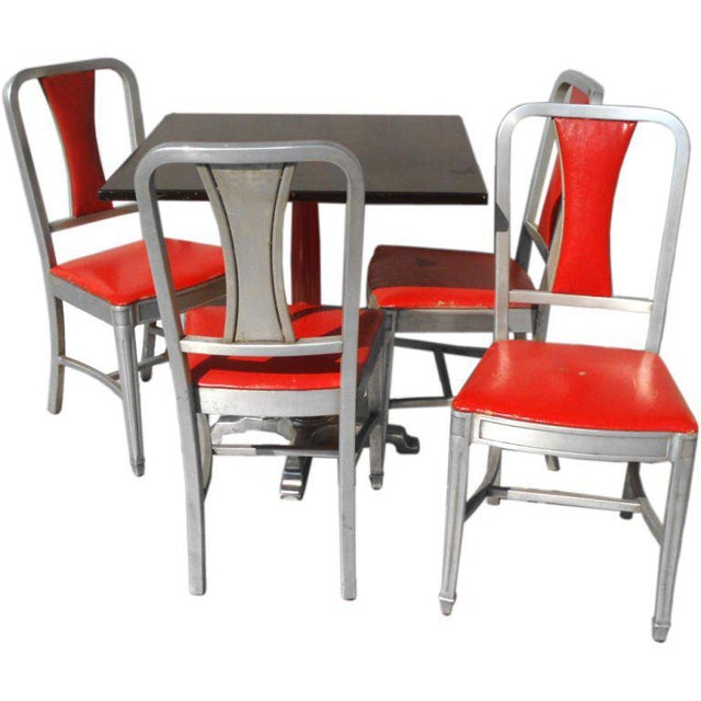 Art Deco Speak Easy Art Deco Cabaret Cafe Tables With Alcoa Aluminum Chairs Set - 3 Pc. For Sale - Image 3 of 7