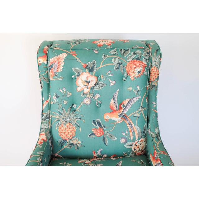 Turquoise Mid-Century Chair and Ottoman For Sale - Image 8 of 10
