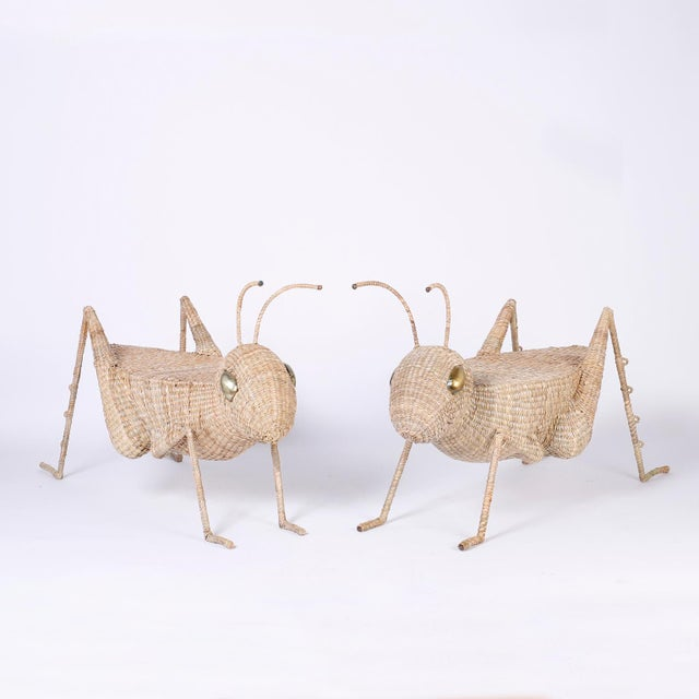 Midcentury Mario Torres Wicker Cricket Table, Pair Available For Sale - Image 9 of 10