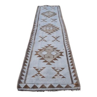 Boucherouite Style Pure Natural Undyed Wool Rug 2′9″ × 12′2″ For Sale