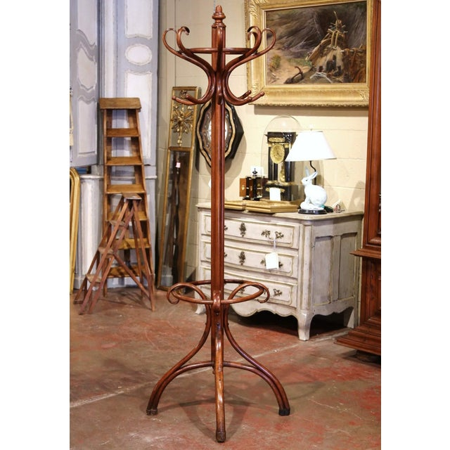Early 20th Century Carved Bentwood Coat Stand With Umbrella Ring Thonet Style For Sale In Dallas - Image 6 of 6