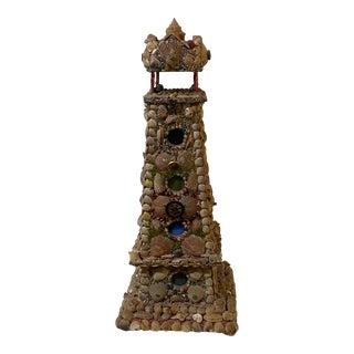 Victorian Seashell Art Lighthouse Night Light For Sale
