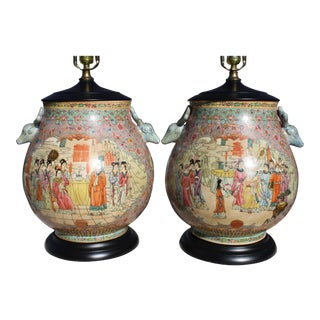 Mid-Century Chinese Chinoiserie Style Porcelain Hu Vase Lamps With Deer Head Handles - a Pair For Sale