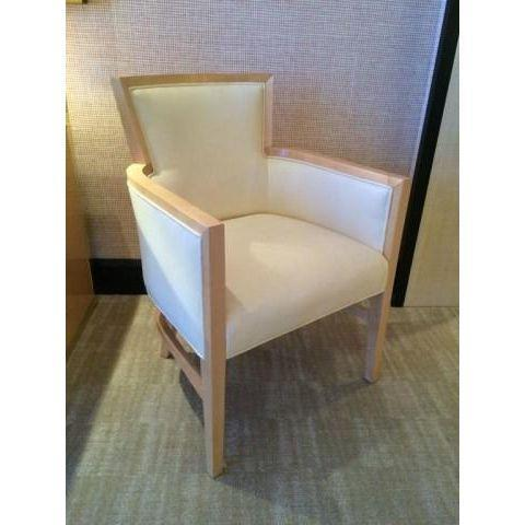 Helen Art Deco Cream Vinyl Armchairs - Pair - Image 2 of 5