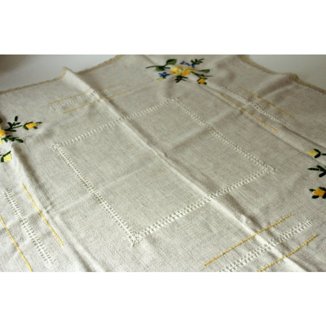Mid-Century Modern German Tablecloth Handmade - Cotton and Linen, From the 1960s For Sale - Image 3 of 5
