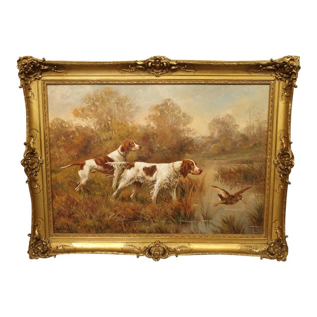 Antique Hunting Dog Painting by Maurice Etienne Dantan For Sale