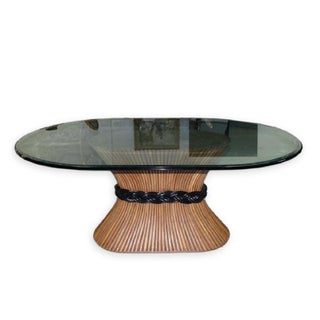 Large McGuire Rattan Rattan Cane and Bamboo Trompe L' Oeil Tole Dining Table or Center Table With Oval Glass Top 1970's in the Style of Paul Frankl Preview