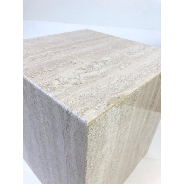 Stone Italian Travertine Side Tables - a Pair For Sale - Image 7 of 10