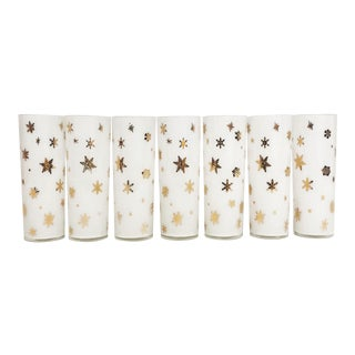 Snowflakes Mid Century White & Gold Glassware Set (7) For Sale