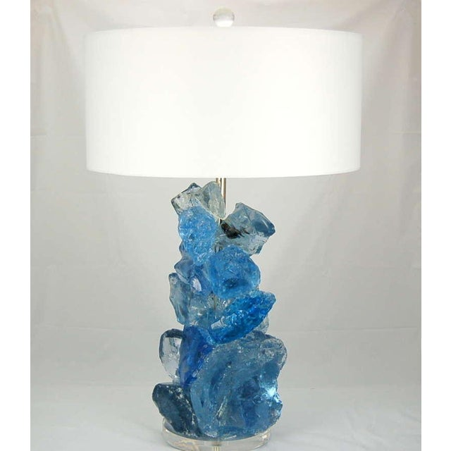 Rock Candy glass table lamps by Swank Lighting! These exquisite crystal cluster lamps in BLUE CRYSTAL are made of recycled...
