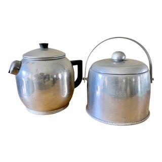 Vintage Set of Two Farmhouse Metal Ice Bucket & Coffee Pot For Sale