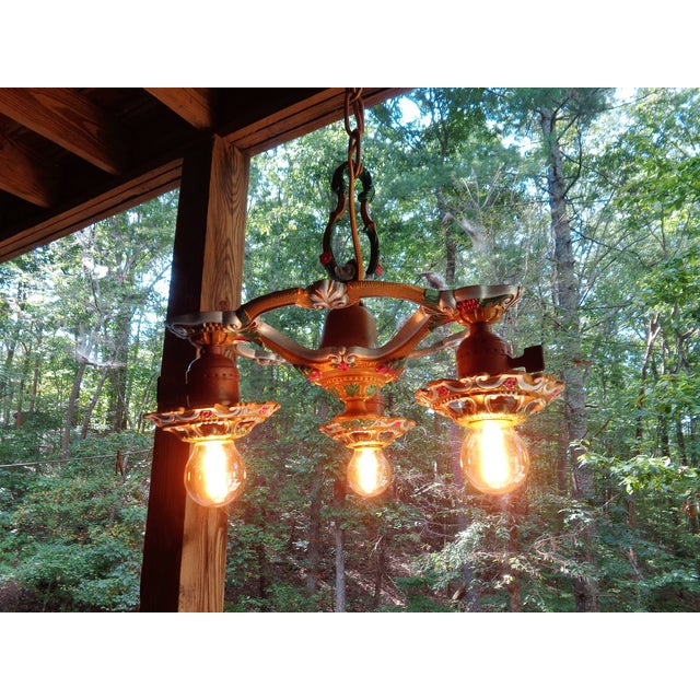 Antique Small Green and Blue Art Deco Chandelier - Image 5 of 9