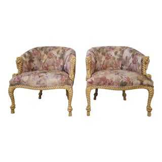 Hollywood Regency Carved Wood Rope and Tassel Arm Chairs - a Pair For Sale