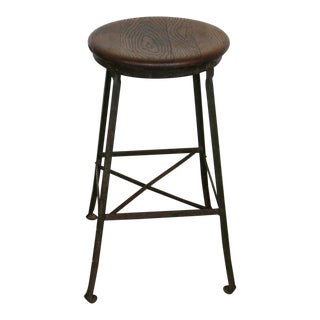 Vintage Industrial Factory Stool Angle Steel For Sale