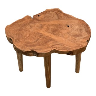 1960s Organic Modern Wood Side Table For Sale