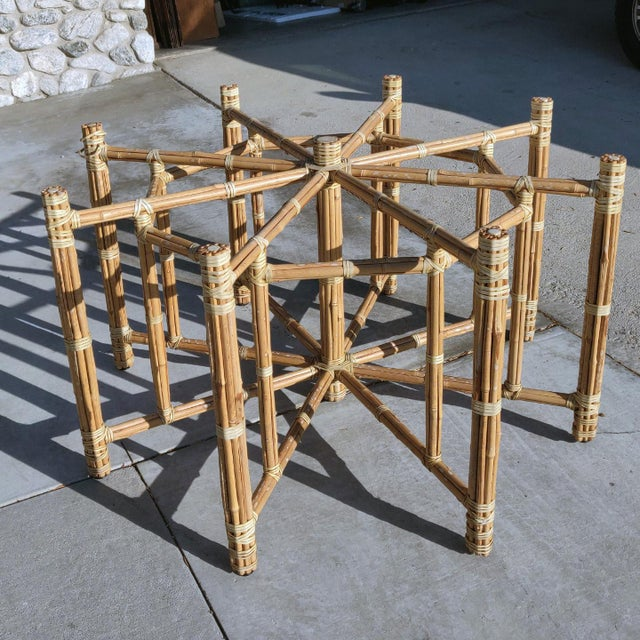 Rustic 1990s Boho Chic Large McGuire Octagonal Bamboo and Rattan Dining Table Base For Sale - Image 3 of 9