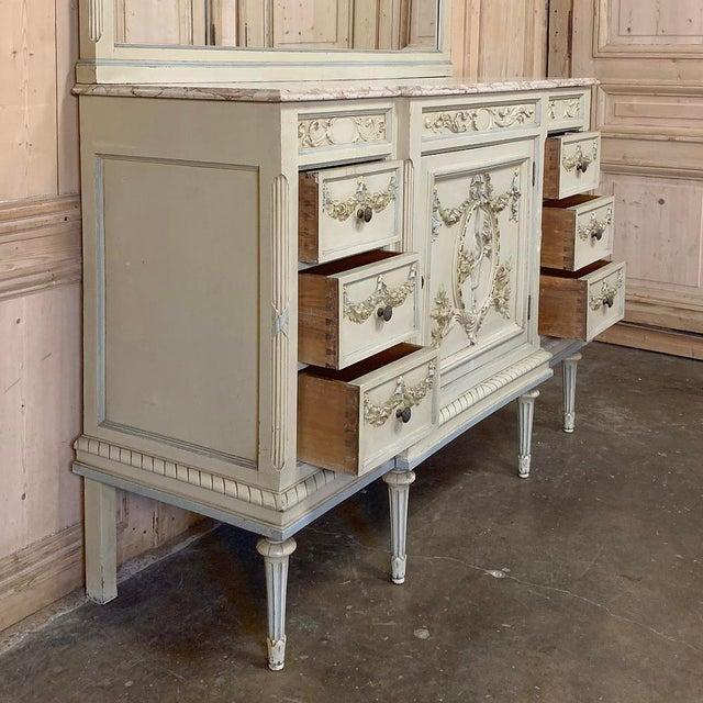 Antique Italian Louis XVI Painted Dresser ~ Linen Press For Sale - Image 11 of 13