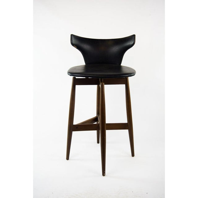1970s Seymour James Wiener for Kodawood Mid-Century Vinyl Swivel Barstools - A Pair For Sale - Image 5 of 13