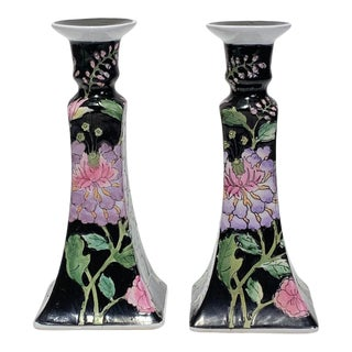 Mid 20th Century Chinese Famille Noire Floral Candlesticks - a Pair For Sale
