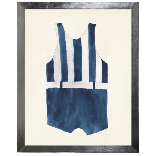 "Nautical Male Blue Stripe Swimsuit Watercolor Print - 15"" X 19"" For Sale - Image 3 of 3"