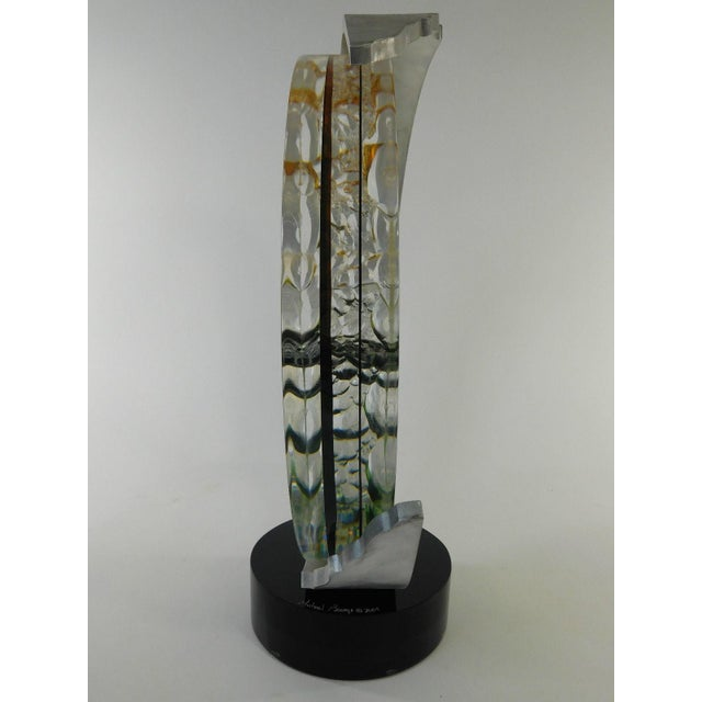 Michael George Lucite Kinetic Moon Sculpture For Sale In Dallas - Image 6 of 11