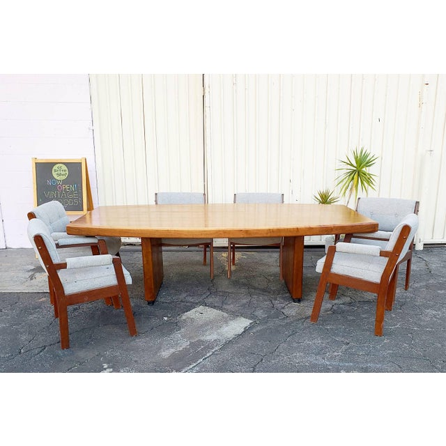 Vintage Walnut Dining / Conference Table For Sale - Image 4 of 4