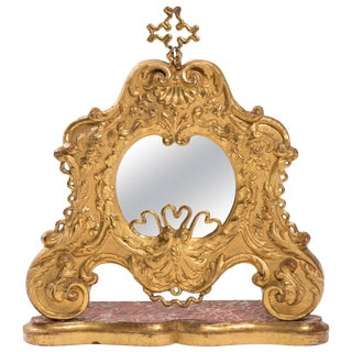 19th Century Giltwood Italian Vanity Mirror For Sale
