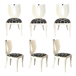 1980s Vintage Italian Pietro Costantini for Ello Furniture White Dining Chairs – Set of 6 For Sale
