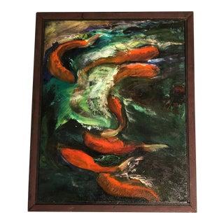 Original Vintage Koi Fish Painting For Sale
